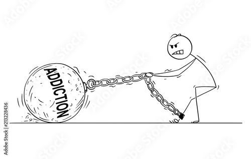 Photo Cartoon stick drawing conceptual illustration of man pulling hard big Iron ball chained to his leg