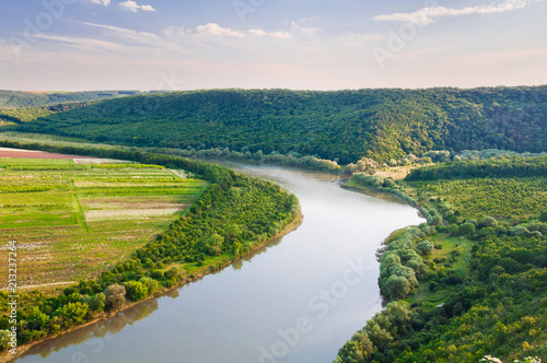 Foto op Aluminium Rivier Top view on the beautiful bend of the river. Dniester Canyon, Ukraine, Europe