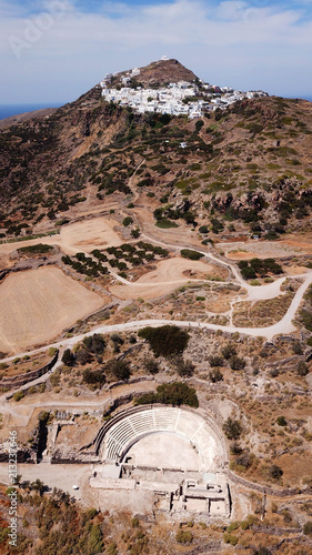 Foto op Aluminium Zalm Aerial drone bird's eye view photo of iconic ancient theater near seaside village of Klima where Aphrodite of Milo was discovered, Milos island, Cyclades, Greece
