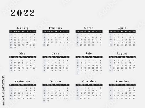 Fotografering  2022 Year Calendar horizontal design
