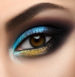 Macro and close-up creative make-up theme: beautiful female eye with blue and yellow shadows, black skin