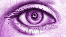 Realistic Human Eye Hand Drawing Illustration Of A Girl With Skull In The Pupil, In The Eye Purple Theme