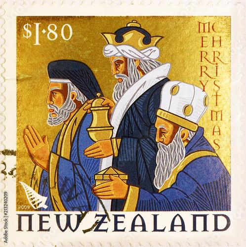 Fotografia Three wise men on New Zealand postage stamp