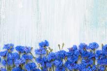 Blue Cornflower Border On Ligh...