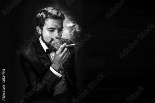 Fotografie, Tablou  smoking gentleman portrait