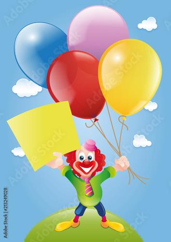 Illustration Clown mit Luftballon © guukaa
