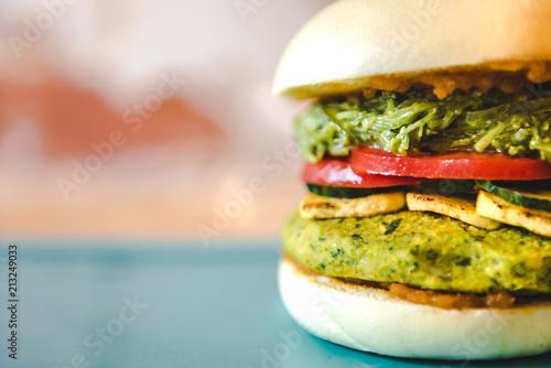 Closeup of an organic veggie burger