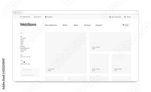 Blank white web store template mock up isolated, 3d