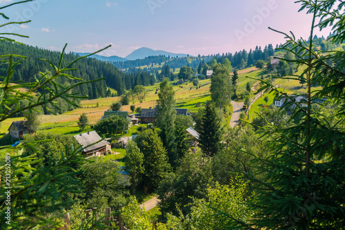Foto op Aluminium Guilin Carpathian village with high fir trees in the foreground