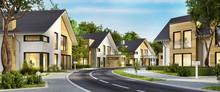 Straße Mit Modernen Häusern