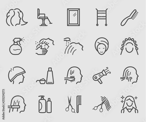 Fotografía Line icons set for Hair Salon