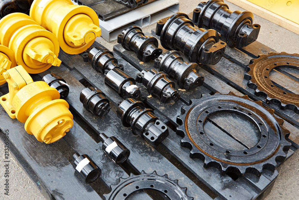 Fototapeta Spare parts chassis of construction machinery