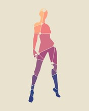 Sexy Women Silhouettes. Female Figure Posing. Silhouette Textured By Lines And Dots Pattern