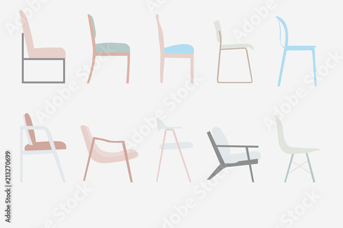 Tela side view style chairs vector office furniture design set ,illustration