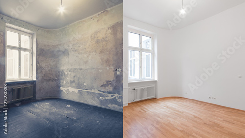 Fotografia  renovation before and after  - empty apartment room