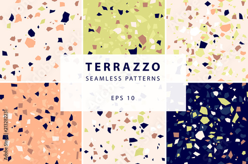 Tuinposter Kunstmatig Terrazzo seamless patterns in decorative style