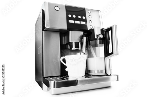 Valokuvatapetti automatic coffee maker with cup of coffee