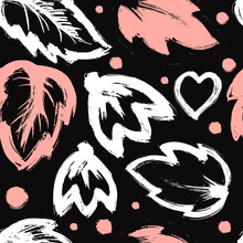 Seamless Abstract Floral Pattern With Brush Stroke Leaves And Flowers On Black Spotted Background. Scandinavian Stile