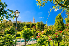 Green Volksgarten Park Of Vienna And City Hall View