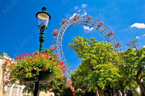 Photo  Prater Riesenrad gianf Ferris wheel in Vienna view