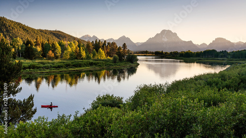 Fototapeta Fisherman on Snake River, Grand Teton National Park, Wyoming, USA obraz
