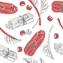 Hand Drawn Rhubarb Pattern. Leaves, Bunches Cut And Whole With Strawberries Composition. Vector Illustration. Good For Backdrop, Textile, Wrapping Paper, Wall Posters. Continuous Line Drawing.