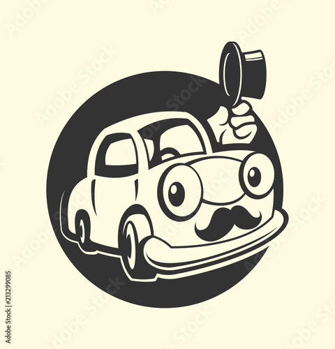 Staande foto Cartoon cars Car with moustache icon