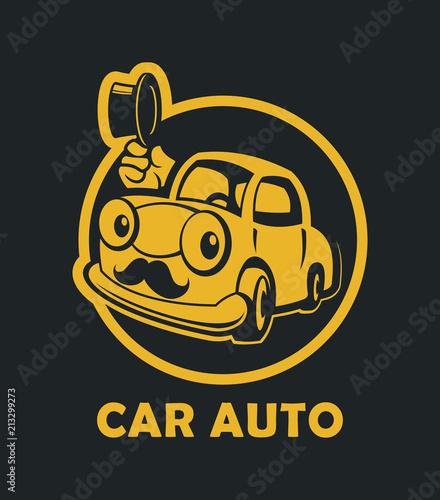 Staande foto Cartoon cars Funny cartoon car