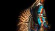 Leinwanddruck Bild - Native American Indian. Close up of colorful dressed native man.
