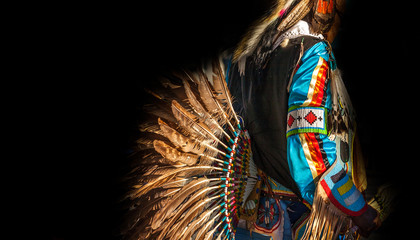 Native American Indian. Close up of colorful dressed native man.
