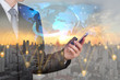 Double exposure of businessman use smartphone, blue world map, communication 4G 5G node networking telephone cellsite and cityscape urban at sunset as business, technology and telecom concept