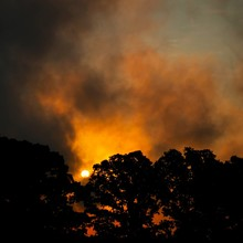 A Vivid Cloudy Sunrise Resembling A Blazing Forest Fire