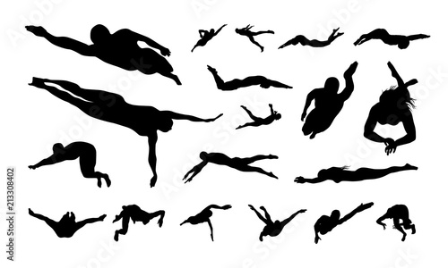 Fotografía  Set of Swimming Sport Silhouette vector illustration