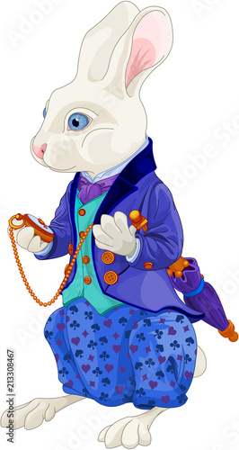 In de dag Sprookjeswereld White Rabbit Holds Watch