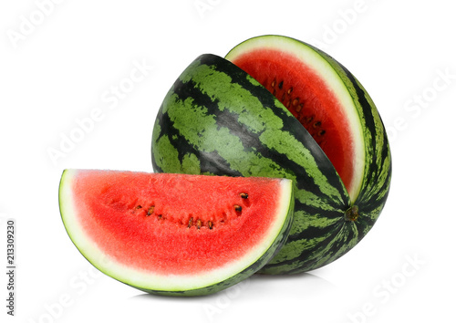 whole and slice red watermelon isolated on white background