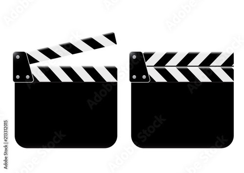 Clapperboard - movie clapper vector. open blank black clapper board for the action scene or filming and shooting movie. Cinéma. Filmklappe geöffnet und leer.
