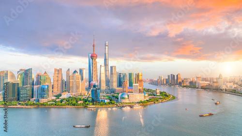 Keuken foto achterwand Asia land View of downtown Shanghai skyline