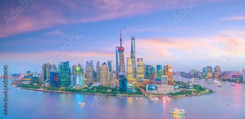 View of downtown Shanghai skyline at twilight