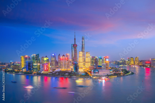View of downtown Shanghai skyline at twilight Canvas Print