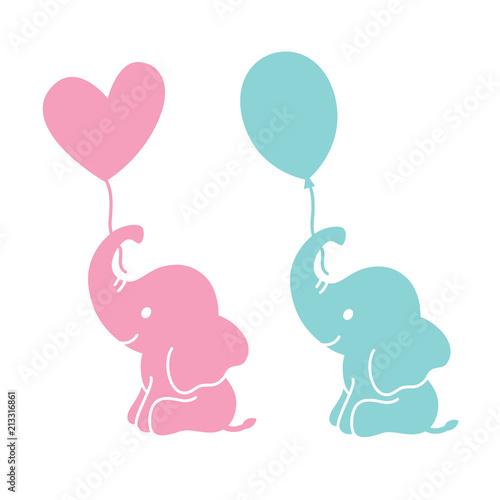 Fototapeta premium Słonie słodkie dziecko trzymając kształt serca i owalne balony sylwetka wektor ilustracja.