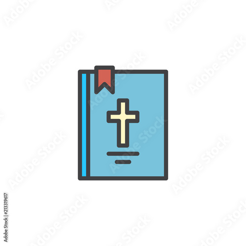Bible book with cross filled outline icon, line vector sign, linear colorful pictogram isolated on white. Holy Bible Symbol, logo illustration. Pixel perfect vector graphics