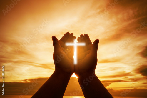 Christian Human hands open palm up worship hope. Eucharist Therapy Bless God Helping Repent Catholic Easter Lent Mind Pray. Christian concept background. fighting and victory for god.
