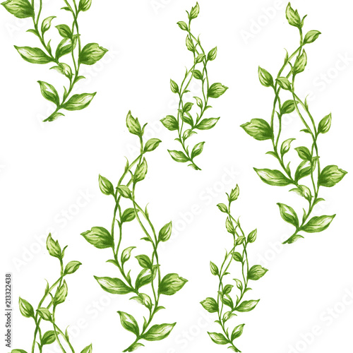 Fototapeta Watercolor seamless botanical leaves pattern obraz na płótnie