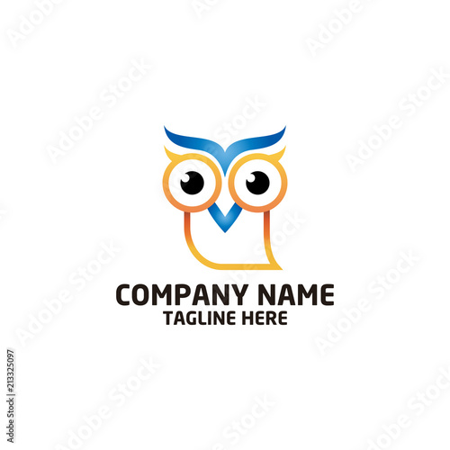 Spoed Foto op Canvas Uilen cartoon owl bird logo, bird head icon, education symbol. vector template ready for use