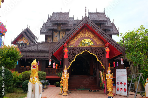 Tuinposter Bedehuis Traditional thai architecture in the Lanna style of Wat Nantaram Temple at Phayao Province,Thailand