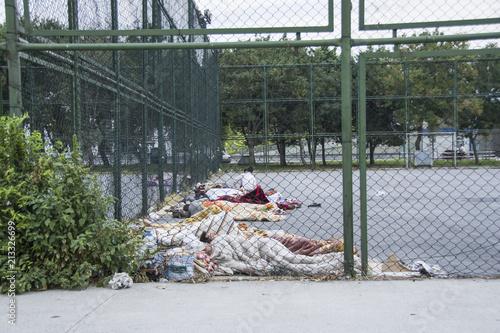 Fotografía  Göçmenlerin parklardaki yaşamı