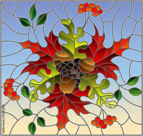 ilustracja-w-stylu-witrazu-z-kompozycji-jesien-jasne-liscie-i-owoce