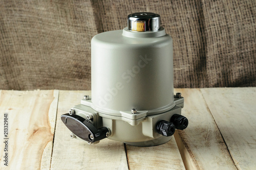 Small electric drive (actuator) gray colour for valves Fototapet