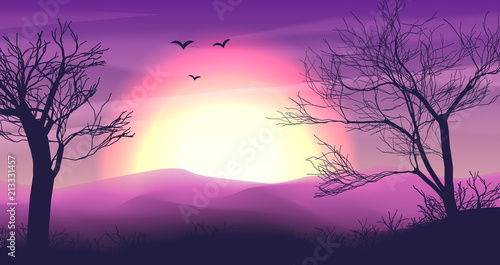 Cadres-photo bureau Prune Safari cartoon background, desert savanna panorama and landscape with trees, hills, dunes and moon. Safary layered panoramic background, savannah dune landscape, African dune night time design in pink