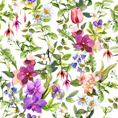 Naklejka Florystyczny Meadow flowers, wild herbs. Seamless floral wallpaper. Watercolor for fashion design